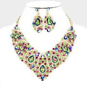 Luxe Whimsical Gold Vitrail Crystal Cocktail Necklace Set By Rocks Boutique