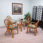 Rattan Dining Set 5 Pieces 4-arm Chairs And Table W/glass Top