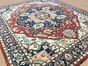 8and039.0 X 9and039.7 Rust Navy Blue Very Fine Geometric Oriental Rug Hand Knotted Wool