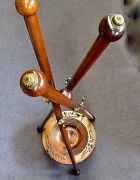 Antique Victorian Sword Holder. Rare Carved Wood Tripod With 6 Brass Hooks. 1861