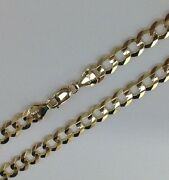 7mm 14k Solid Gold Womenand039s/menand039s Cuban Link Chain Necklace 20-30 Free Shipping