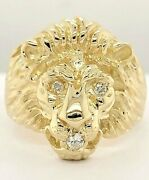 14k Yellow Gold Lion Head Ring With Diamond Eyes And Mouth, Sizes 5-13