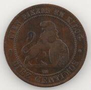 1870 Spain Provisional Government 10 Centimos Very Fine Condition Km 663
