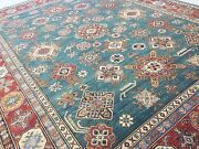 8and039.0 X 10and039.7 Green Rust Very Fine Geometric Oriental Area Rug Handknotted Wool