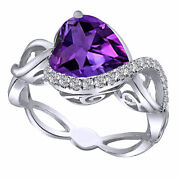 Valentines Day 4.00ct Heart Shaped Alexandrite And Cz Silver Swirl Ring