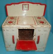 Vintage Tin Wolverine Toy Stove Oven With Working Door And Clock