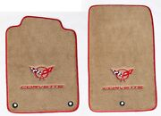 New Tan Floor Mats 1998-2004 Corvette Embroidered Circle Emblem Double Logo Red