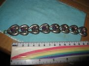 Midcentury Modern Taxco Mexican Silver And Amethyst Heart Bracelet Spratling 6 3/4