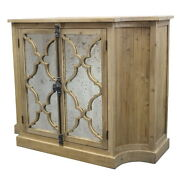 52 W Abigail Buffet Antiqued Mirror Door Solid Elm Pine Wood Hand Crafted