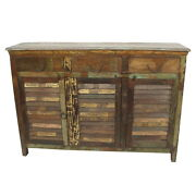 60 W Rhode Buffet 3 Drawer 3 Door Removable Shelves Distressed Paint Finish