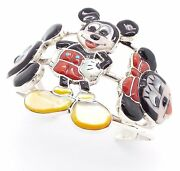 Zuni Sterling Silver Multi-stone Inlay Mickey And Minnie Mouse Bracelet - Don Dewa