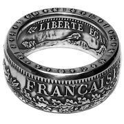 French Silver Coin Ring - France 10 Francs - Large Mens Size - Best Coin Ring