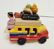 "COLOMBIA Clay Bus Resin Ceramic Terracotta Folk Art Hand Crafted 3.25""x2.75"" VTG"