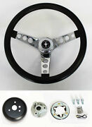 New 1970 - 1973 Mustang Black Steering Wheel Grant 13 1/2 With Chrome Spokes