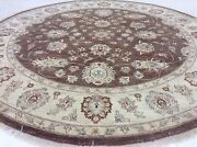 8and039 X 8and039 Brown Ivory Fine Ziegler Oriental Area Rug Hand Knotted Wool Foyer