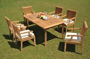 Dssk Grade-a Teak Wood 7pc Dining 83 Rectangle Table 6 Arm Chair Set Outdoor