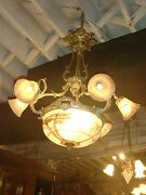 Spectacular Hand Painted Glass Gilded Bronze 6 Light Chandelier French 19c.