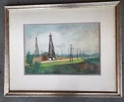 Gheorghe Ionescu Framed Watercolor Signed Oilfield