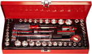 49 Piece 1/4 And 3/8 Drive Sae And Metric Socket Set 12 Point Tande Tools 12010