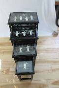 Vintage Chinese Nesting/stacking Tables Set Of 4  Mother Of Pearl1