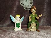Peter Pan And Tinker Bell Porcelain Figurines Made In Japan