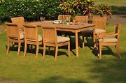 Dsgv Grade-a Teak Wood 9pc Dining 71 Rectangle Table 6 Chair Set Outdoor Patio