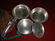 Vintage Girl Scout 5 Piece Mess Kit And Plaid Pouch Aluminum - Canteen Style