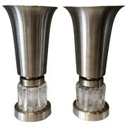 Pair Of Russel Wright Art Deco Machine Age Uplighter Table Lamps