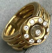 Rare Chopard 18k Yellow Gold Floating Happy Diamond Vintage Ring Size 6.25