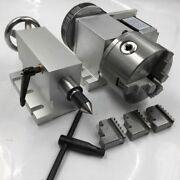 Cnc Rotary 4th A Axis 61 Hollow Shaft Nema23 Motor 3 Jaw 100mm Chuck Tailstock