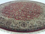 8and039.1 X 8and039.1 Rust Beige Agra Oriental Area Rug Round Hand Knotted Wool