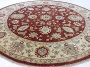 7'.11 X 8'.0 Rust Ivory Fine Agra Oriental Area Rug Round Hand Knotted Wool