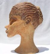 Large Modernist Art Studio Pottery Sculpture Woman's Head MC Modern Style E.ROYE