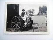 Great Vintage Bandw Photograph Of Woman And Child W/ Old Style Tractor