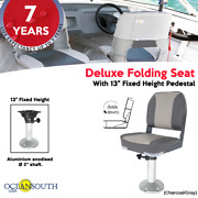 Boat Chair Package - Deluxe Folding Seat With 13 Fixed Pedestal Charcoal/gray