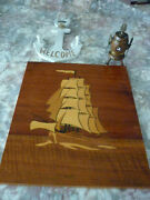 S.s. Southern Cross Victory Souvenir Keg Anchor And Marquetry Schooner Plaque