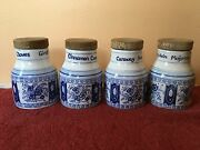 Vintage Spice Containers Jars W/ Cork Kummel, Cloves, Cannelle, And Marjoram