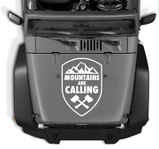 Mountains Are Calling Crest Vinyl Sticker Decal Fits Jeep Wrangler Any Hood 22b