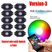 10 Pods Led Rgb Rock Light Kit Bluetooth Fit For Atv Truck Offroad Jeep Wrangler
