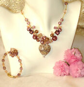 Murano Glass Necklace And Free Bracelet Caviar Heart Rose Italian By Insignia