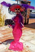 Day Of The Dead Catrina Paper Mache Figure Hand Made Mexico With Free Shipping