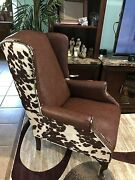New Cowhide Faux Leather Wing Back Chair