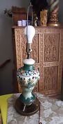 Vintage Hand Painted & Crafted Art Pottery Majolica Angels Vase Table Lamp Italy