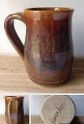 Studio Art Pottery Coffee Mug Cup Wheel Thrown Brown Handcrafted Artist Signed