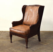 29 W Club Arm Chair Vintage Chocolate Brown Buffalo Leather Antiqued Hand Made