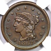 1847 N-36 R-5+ Ngc Unc Details Cc2 Braided Hair Large Cent Coin 1c