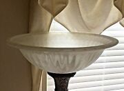 Torchiere Lamp Shade Marbled Fluted Frosted White Glass Large 18 In Replacement