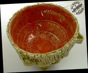 Artist Lug Basket High Footed Pottery Bowl Arts + Crafts Signed Red + Ochre Pail