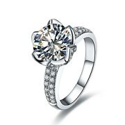 3ct Moissanite Engagement Ring Lotus Style Pure 14k White Gold Jewelry