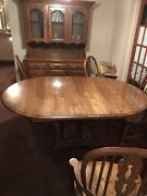 Dinning Room Set Solid Oak Oval Table 6 Chairs Carolina Best 🌟great Shape